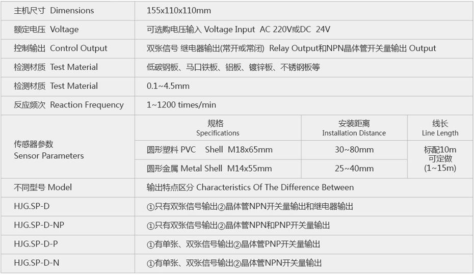 SP-D金属板片料重叠检测控制仪器参数