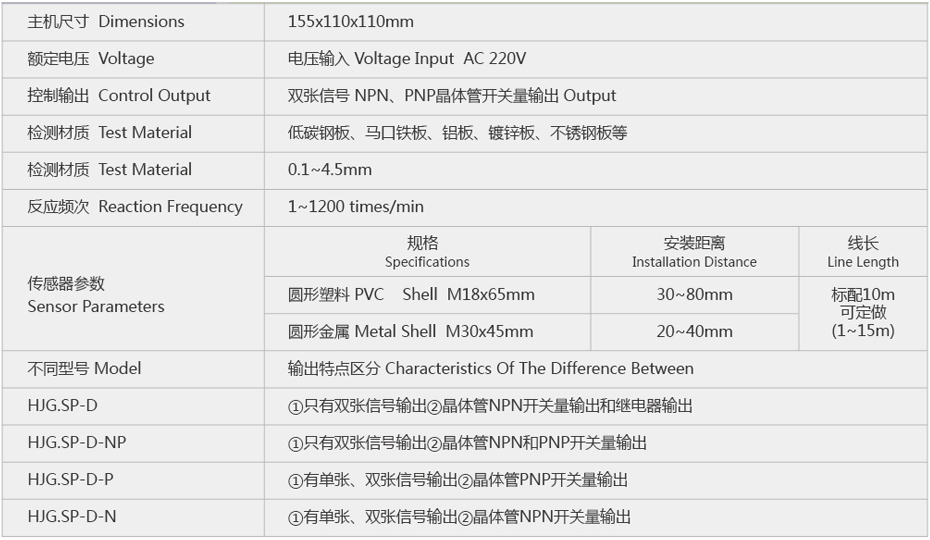 SP-D-NP五金冲压双料重叠检测器参数