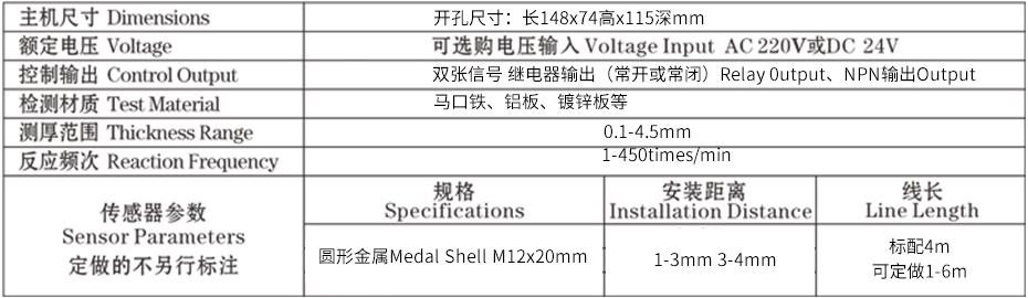 SP-III-24罐身缝焊双张检测控制仪器参数